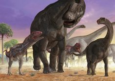 A couple of predator Mapusaurus try to isolate a herd of sauropods.
