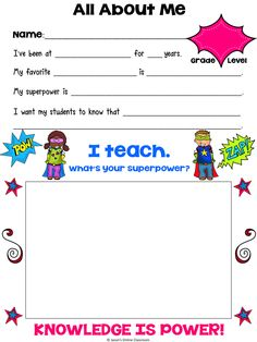 FREEBIE!  This all about me poster was originally developed for a principal who is having her teachers fill this out for a cafeteria wall display. It is formatted so that a 4 x 6 picture can be taken and displayed in the center of the poster to help students and parents get to know the teachers of the school better.