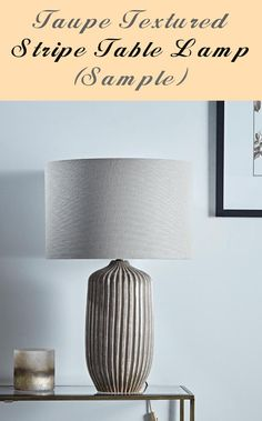 Taupe Textured Stripe Desk Lamp (Pattern) - #pattern #stripe #taupe #textured Desk Lamp, Table Lamp, Taupe, Pattern And Decoration, Striped Table, Brown Shades, Shop Lighting, Stoneware, Pure Products