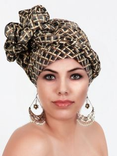 Gray Gold Basketweave Turban Head Wrap, Alopecia Scarf, Chemo Hat, Boho Gypsy Tribal,  Dreads Wrap, One Piece Wrap, Cotton Turban - pinned by pin4etsy.com