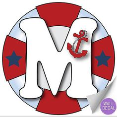 Wall Letter Alphabet Initial Sticker Vinyl Stickers Decals Name Ocean Nautical Nautical Letters, Nautical Baby, Boys Bedroom Decor, Baby Room Decor, Alphabet, Cruise Theme Parties, Name Wall Stickers, Sticker Vinyl, Baby Boy 1st Birthday