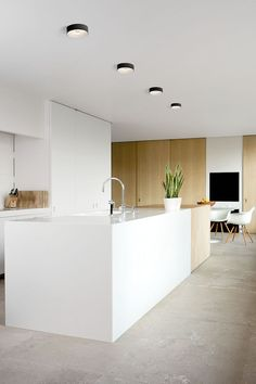 Minimal white and light wood modern kitchen