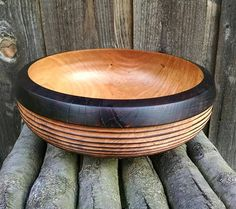 Wood Bowl Reclaimed Cherry Wood Wooden Bowl Wood Burned