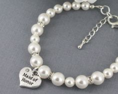 Maid of Honor Bracelet, Swarovski Bracelet, Bridal Party Jewelry, Maid of Honor Gifts, Available in White or Ivory, Maid of Honor Jewlery