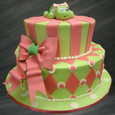 Custom Birthday Cake. Adorable cake featuring watermelon colors; green and pink. Turtle cake.   Palermo's Bakery creates custom cakes, wedding cakes, birthday cakes, graduation cakes, cake pops, cupcakes, cookies, custom dessert tables and serves the New Jersey/New York Area