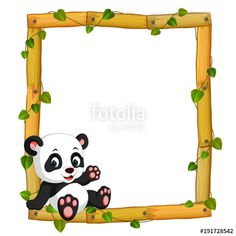 Panda on the wood frame with roots and leaf Premium Vector Image Panda, Photo Png, Panda Background, Panda Mignon, Panda Baby Showers, Panda Art, Panda Panda, Boarder Designs, Panda Birthday