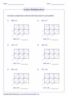 The 2-Digit by 2-Digit Lattice Multiplication (A) math worksheet ...
