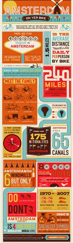 Various statistics about Amsterdam, and it's massive population of Bikes! This easyJet holidays infographic contains images some Bieber fans might fin