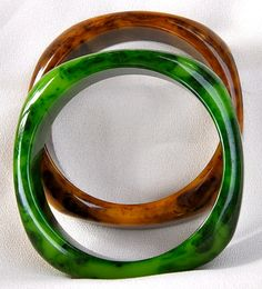 """Matched Pair of 3/8"""" Wide Square Bakelite Bangle Bracelets, Green and Brown, Creamed Spinach"""