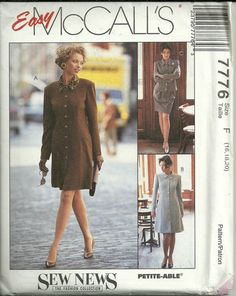 McCall's Sewing Pattern 7776 Dress Unlined by CraftItWithLove