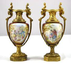 Pair of Bronze Mounted Enamel Miniature Vases   eBay