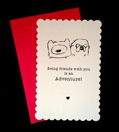 SET OF 4  - Finn and Jake Friend Traditional Valentine's Day Card / Adventure Time Fan Art.  Geek Boy, Nerd Girl. Comics.. $10.00, via Etsy.