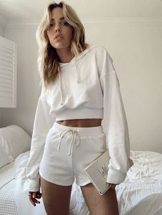 Style Material: Cotton Color: White Model is wearing a small MODEL STATS: Height: / Bust: / Jeans: 24 Cropped Hoodie Outfit, White Hoodie, Cropped Jeans, Blue Eyed Girls, Cute Casual Outfits, French Terry, Playing Dress Up, White Shorts, Hoodies