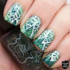 Polish Those Nails: 40 Great Nail Art Ideas Challenge - 3 Greens & Saran Wrap