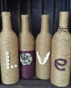 Twine wrapped LOVE bottles
