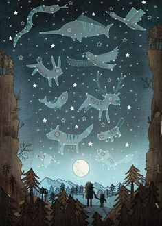 Brendan Kearney Illustration - brendan kearney, brendan, kearney, digital, commercial, fiction, activity, picture book, educational, detailed, animals, characters, animals, stars, space, constellations, birds