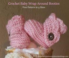 Crochet baby wrap around booties