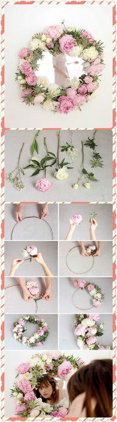 Make This: DIY Fresh Flower Framed Mirror. Click www.welikecraft.com for more craft ideas!