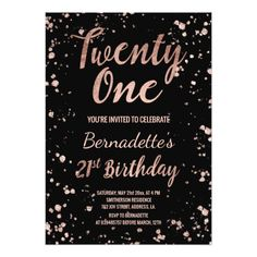 Faux rose gold confetti splatters 21st Birthday Card