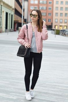 pink casual bomber jacket look bmodish