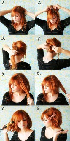 8 steps to make your long hair look like short hair. (I like her bangs)- I bet you my hair would do this.