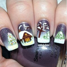 Christmas winter nails www.VictoriasBeautySupplies.co.uk