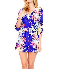 NWT YUMI KIM  Floral Printed Romper Blue Long Sleeve Hawaiian V Jumpsuit  XS M L    eBay