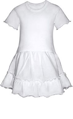 100% Cotton Jersey single lettuce edged romper with attached skirt makes a dress!