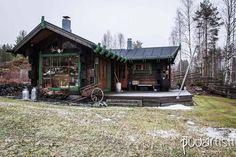 Cottage sauna building on the riverside.