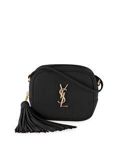 "Saint Laurent smooth calfskin crossbody bag. Golden hardware. Thin shoulder strap, 23.5"" drop. Zip top closure with tassel pull. YSL logo plate at center. Back slip pocket. Interior, leather lining; f"