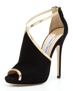 Fey Peep-Toe Suede Sandal, Black/Gold by Jimmy Choo at Neiman Marcus.