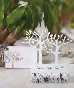 We invite you to pair these Laser Expressions Tree Silhouette With Owls Die Cut Cards with our faux birch log place card holders for a pretty rustic wedding! Woodland Theme Wedding, Owl Wedding, Birch Wedding, Rustic Wedding Favors, Wedding Favor Tags, Dream Wedding, Wedding Invitations, Plum Wedding, Whimsical Wedding