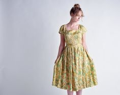 floral full skirt tea dress s by persephonevintage on Etsy, $115.00
