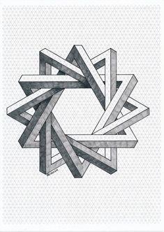Impossible on Behance Illusion Drawings, 3d Drawings, Illusion Art, Impossible Triangle, Impossible Shapes, Graph Paper Art, Geometric Drawing, Geometric Art Tattoo, Isometric Art