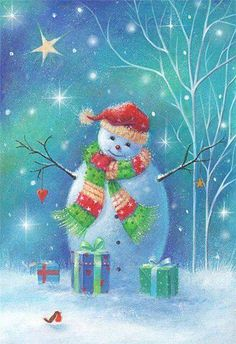 Cute small robin on the snowy ground Christmas Scenes, Very Merry Christmas, Christmas Clipart, Vintage Christmas Cards, Christmas Pictures, Christmas Snowman, Winter Christmas, Christmas Time, Christmas Crafts