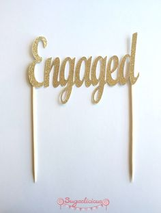 GOLD Glitter 'ENGAGED' Cake Topper / Engagement Party Gold Bling Cake Topper