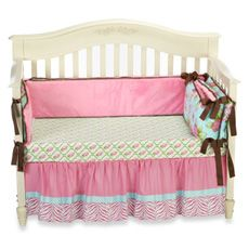 Caden Lane Finley 3-Piece Crib Bedding Set and Accessories - Bed Bath & Beyond - stripe is where bottom crib slat goes - idea