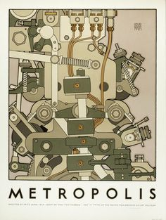 """David Lance Goines   Poster for a Film Archive Screening of Fritz Lang's """"Metropolis"""", 1926"""