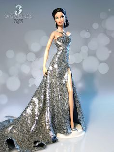 Barbie Dolls : OOAK Barbie from the 3 Diamonds Collection by David Bocci Barbie Gowns, Barbie Dress, Barbie Clothes, Barbie Blog, Fashion Royalty Dolls, Fashion Dolls, Barbie Vintage, Diva Dolls, Beautiful Barbie Dolls