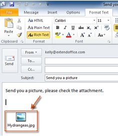 INSERT ATTACHMENTS IN THE OUTLOOK EMAIL MESSAGE BODY DIRECTLY Step 1: Create a new email message:1.In Outlook 2010 -13, please click the New E-mail button OR click the File > New > Mail Message. 2:Convert current email message into the Rich Text format. Click the Rich Text button in the Format group on the Format Text tab OR click the Rich Text button on the Options tab. Place the cursor at the position you will add attachments. 3:Insert attachments by clicking the Attach File button or…