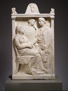 Marble stele (grave marker) of a woman Period: Late Classical Date: ca. 375–350 B.C. Culture: Greek, Attic