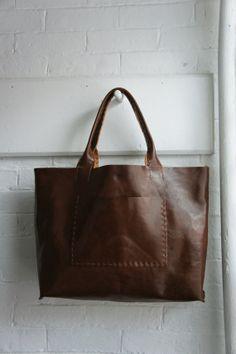 Items similar to Belleville - Large Horizontal Leather Bag - Italian  Leather - Dark Roast on Etsy b85b61ccb9