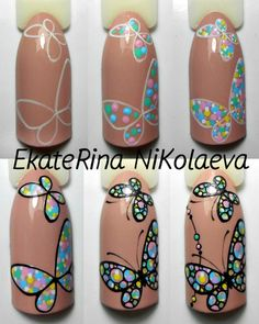 Knit Nails The Latest Trend This Season Butterfly Nail art tutorial, dots. Ногти и Маникюр пошагово. Ногти и Маникюр пошагово. Manicure Nail Designs, Nail Manicure, Diy Nails, Nail Art Designs, Nails Design, Design Art, Nail Polish, Cute Nail Art, Nail Art Diy