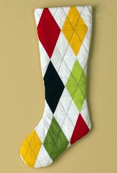 Argyle Stocking - Create just one or a whole row of Argyle Stockings for your family using simple piecing techniques!