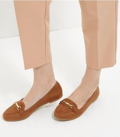 Tan Suedette Bar Strap Loafers    New Look