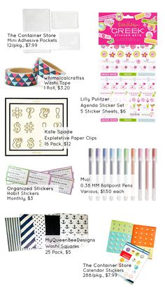 Now that I've been using my Erin Condren planner for a few weeks, I've found quite a few favorites in the stationery world. Kate Spade |Expletive Paper Clips $12 Lilly Pulitzer |Agenda Sticker Set $6 Muji |0.38 Ballpoint Pens $1.50 MyQueenBeeDesigns |Washi Squares $5 Organized Stickers