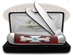 CASE XX DAVID YELLOWHORSE Double Eagles Jasper Turquoise Trapper 1/2 Pocket Knife - DYH160 | CA