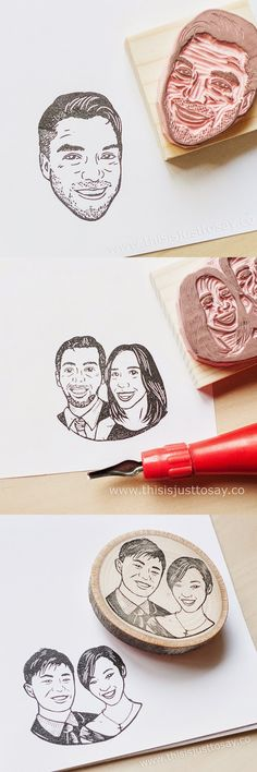 Custom portrait stamps for one person and/or couples! Find them on www.thisisjusttosay.co