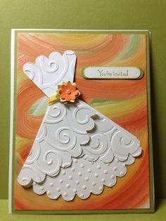 Wedding shower invitation. Custom card reflects the bridal party colors.  Www.etsy/shop/spbailerpapercrafts.com