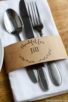 These free printable napkin holders from Fantabulosity are the cutest Thanksgiving craft idea, and perfect for a last-minute effort at impressing your guests. Sweet and to the point, these meaningful place cards do double duty corralling silverware and napkins for each plate. Get the free download from Fantabulosity